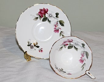 Gorgeous Flared Teacup & Saucer by Royal Stafford in Bright White Red Umber/Orange with Pink Roses and White Flowers Inside