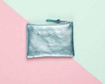 Aquamarine Leather Coin Purse // Metallic Leather Bag // Coin Pocket Wallet // Custom Monogram / Small Leather Bag / Leather Wallet