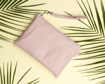 Pink Leather Clutch Purse // Leather Clutch Bag // Wedding Clutch // Statement Bag // Bridesmaid Clutch // Leather Pouch