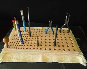 Wood Tool Holder - FREE SHIP - Supply Organizer Stand - Gift Handyman - Furniture Maker Crafts Gunsmith Jewelry Making