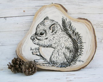 Woodland animals, Squirrel print, Squirrel wood picture, Woodland nursery art, Woodland baby shower, Rustic sign, Country decor, Wood sign
