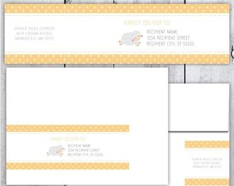 Little Lamb Printable Wrap Around Label - Yellow