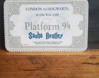 London To Hogwarts metal Wallet Card-Ticket-Harry Potter-Platform 9/34-Keepsake=Gift-