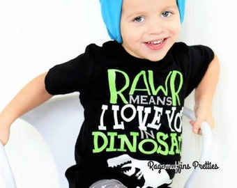 Dinosaur shirt, Dino shirt, boys dino shirt, toddler dinosaur shirt, Rawr means I love you in dinosaur, T-Rex shirt, Humorous boys shirt