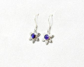 Dangle Flower Earrings - Silver earrings with purple Paua shell