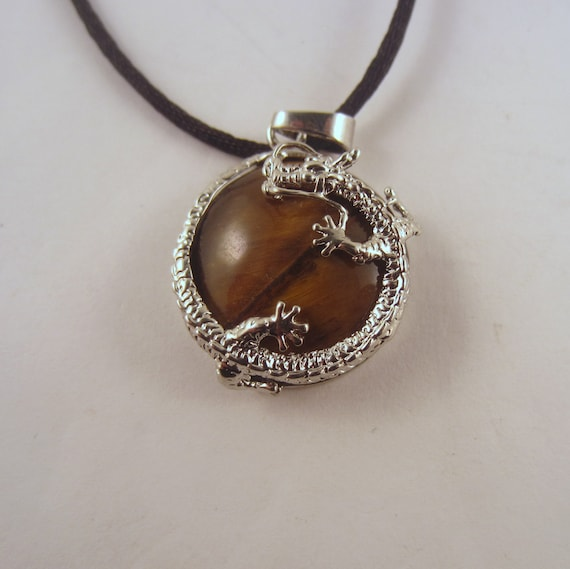 Tigers Eye Dragon round Necklace: Natural Crystal Pendant, Stone Jewelry