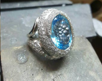 Blue Topaz with pave diamonds
