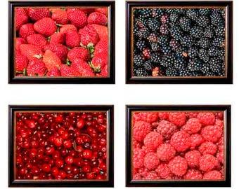kitchen prints, kitchen Decor, rustic kitchen, Food photography, food art,  blackberries, cranberries, raspberrys, strawberries, food gift