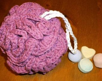 Bath sponge/Home spa/Crochet loofah/Puffy bath scrub/Bath exfoliator/Beauty gift set/Shower pouf/Handmade bath loofah/Cotton loofah
