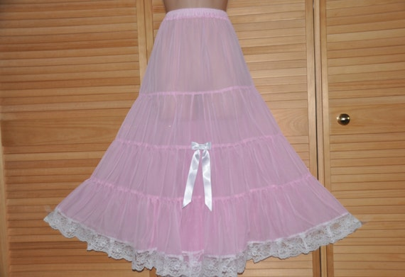 Baby pink gypsy styled petticoat, flowing chiffony softness for girly dressing up fun, Sissy Lingerie