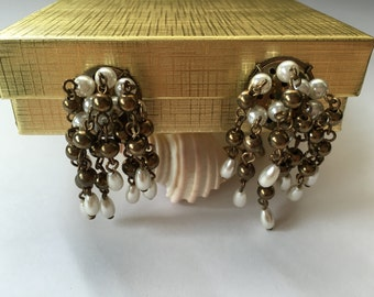 Vintage Faux Pearl and Brass Bead Cha Cha Earrings 0809