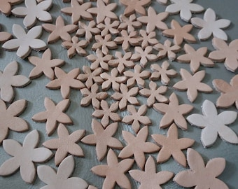 Leather Flowers, 15 mm. 20 mm 25 mm., Natural, Leather Flowers Die Cut, DIY Projects. Vegetable tanned leather die cut