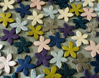 Leather Flowers, 50 Pcs, 15 mm. (1.5 cm.), Mixed Metallic Colors, Small Leather Flowers, Leather Flowers Die Cut, DIY Projects.