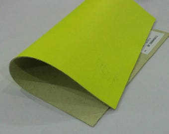 "Leather Scrap, Genuine Leather, Leather Pieces, Flash Yellow, Size 8.25"" by 11.5""  Leather Scrap for DIY Projects."