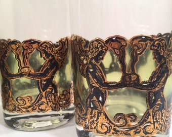 Culver Mid-Century Golden Angel and Urn Highball Glasses (Set of 6)
