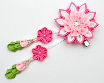 Pink, white, green. Kanzashi fabric flowers bridal hair clip with falls. Japanese hair clip. Geisha's hair piece. Oriental hair clip.