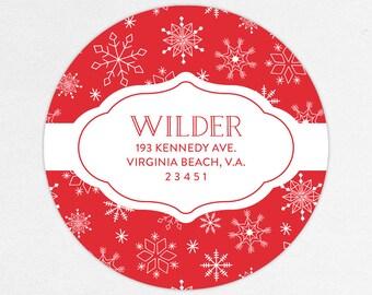 24 HOUR DIGTIAL FILE, Holiday Return Address Label, Christmas Return Address Label, Holiday Address Sticker, Snowflake Return Address Label