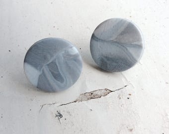 Grey marble stud earrings