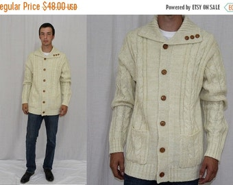 On Sale Vintage 70s PURITAN Cable Knit WOOD Button Shawl Retro Sweater Cardigan Jacket M L