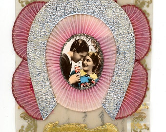 Romantic 3D card with real photo - 1920-30s couple man and woman in love - girlfriend - boyfriend