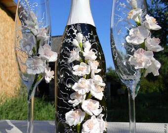 Wedding Champagne Glasses, Sakura, Wedding toasting flutes, White weddings,Wedding supplies,Personalized wedding gift,Champagne Flutes