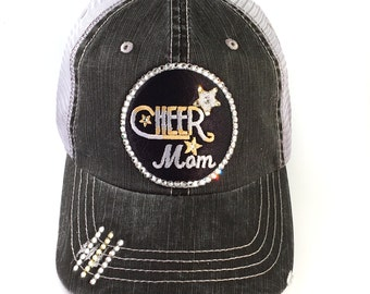 Cheer Mom Hat, Baseball Cap, Cheer  Mom, Choose Colors, Team Colors, Custom Colors, Trucker Hat, Cheer Mom Gear, Blue, Red, Green, Purple