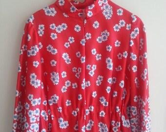 Medium Original 1970s Flower Power Hippie Retro Dress