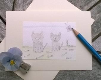 Greeting Cards Handmade  Cats Feline
