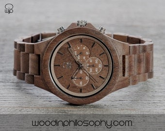 Wood Watch Walnut | Engraved Wooden Watch Chrono | Personalized All Wood Watch For Men | Wood Chronograph Watch | Best Gift For Men