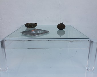 Vintage Lucite Coffee Table  With Insert Glass Top.
