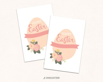 Easter Gift Tags / Happy Easter Tags / Digital Tags / Floral Easter / Favor Tags / Easter Favors / Easter Treat Tags / Floral Gift Tags