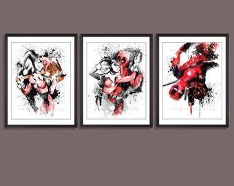 Deadpool and Harley Quinn kiss poster, Deadpool and Harley Quinn kiss print, Marvel comics print, Superhero wall art, Kids Decor print, 3609