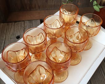 Stunning vintage set of 8 Tiffin Franciscan Cabaret wine/water goblets in amber persimmon colored glass retro stemware wine glass  colored
