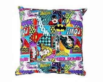 Girl Power Cushion Cover, Batgirl, Supergirl, Wonder Woman cushion, Superhero cushion, DC comics superhero cushion, Mothers Day Gift