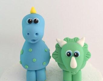 Fondant Dinosaurs Cake Topper. Fondant animal dinosaurs for baby shower / birthday
