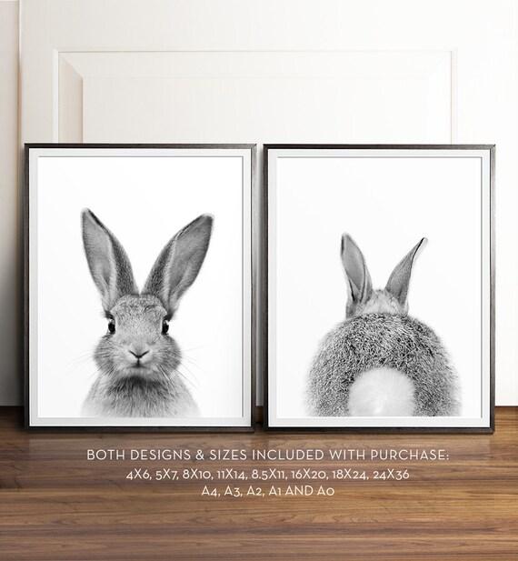 Rabbit print, Bunny butt, Black and white photography, PRINTABLE art set, Nursery wall art, Woodland animals, Nursery art, Baby animal print