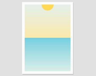 Sunrise print, sun art, minimalist art, colourful prints, modern decor print, sea, coastal wall art, nordic poster, mid century art