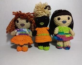 African American Inspired Dolls. (multi color shirt/orange skirt)