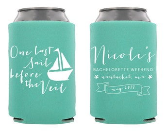 Last Sail Before the Veil Can Cooler, Personalized Bachelorette Can Cooler, Custom Bachelorette Can Cooler, Bachelorette Favor