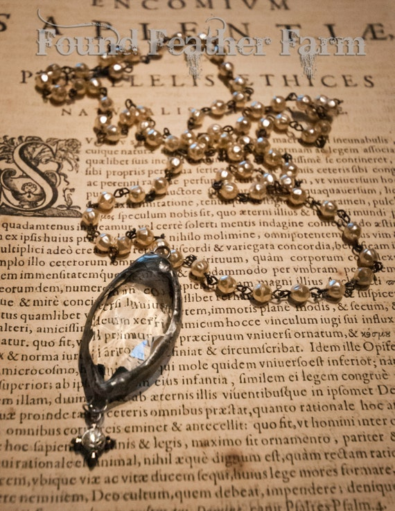 Handmade Soldered Baroque Crystal Pendant on a Handmade Beaded  Pewter Finished Rosary Chain with Delicate Baroque Faux Pearls