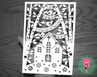 Christening day paper cut svg / dxf / eps / files and pdf / png printable templates for hand cutting. Digital download. Commercial use ok.