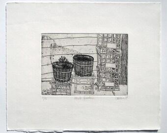 Herb garden - etching
