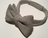 Thick Tweed Grey Self Tie Bow Tie