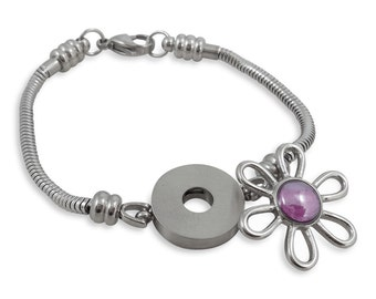 Timeline Treasures Charm Bracelet For Women, Stainless Steel Snake Chain, Fits European Charms, Snap Button, 7.5 Inches