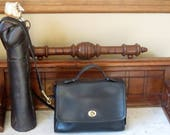 Coach Court Bag In Black Leather With Brass Hardware Adjustable Crossbody Strap -Style No 9870- Made In Turkey- VGC