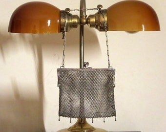 H C & C  German Silver Mesh Kisslock Bag - Vgc