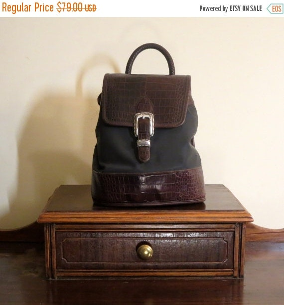 Football Days Sale Vintage Brighton Monica Classic Backpack Black With Brown  Croc Accent Leather - VGC