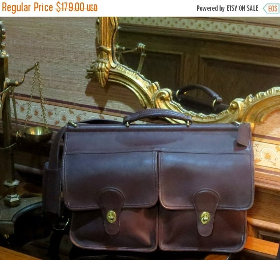 Football Days Sale Coach Kensington Briefcase Attache Laptop IPad Carrier in Mahogany- Style No 5279- VGC Made In U.S.A.