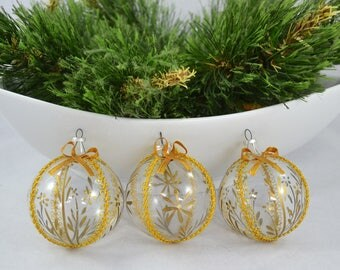 Vintage Hand Painted Glass Christmas Ball Ornaments