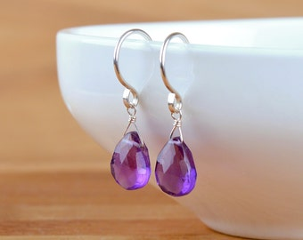 Natural Amethyst Dangle Earrings, February Birthstone Purple Amethyst Earrings, Leverback: 14K Rose Gold Filled, Sterling Silver jewelry